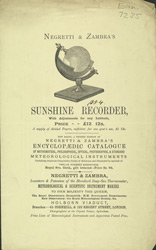 Advert for Negretti & Zambra's Sunshine Recorder